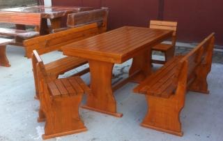 Маса 160х75см.две пейки 160см. и два стола, цвят светъл кестен