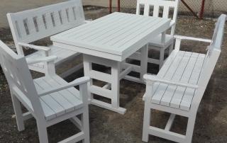 Градински сет - маса 120х75см. с две пейки 120см. и два стола, цвят бяло