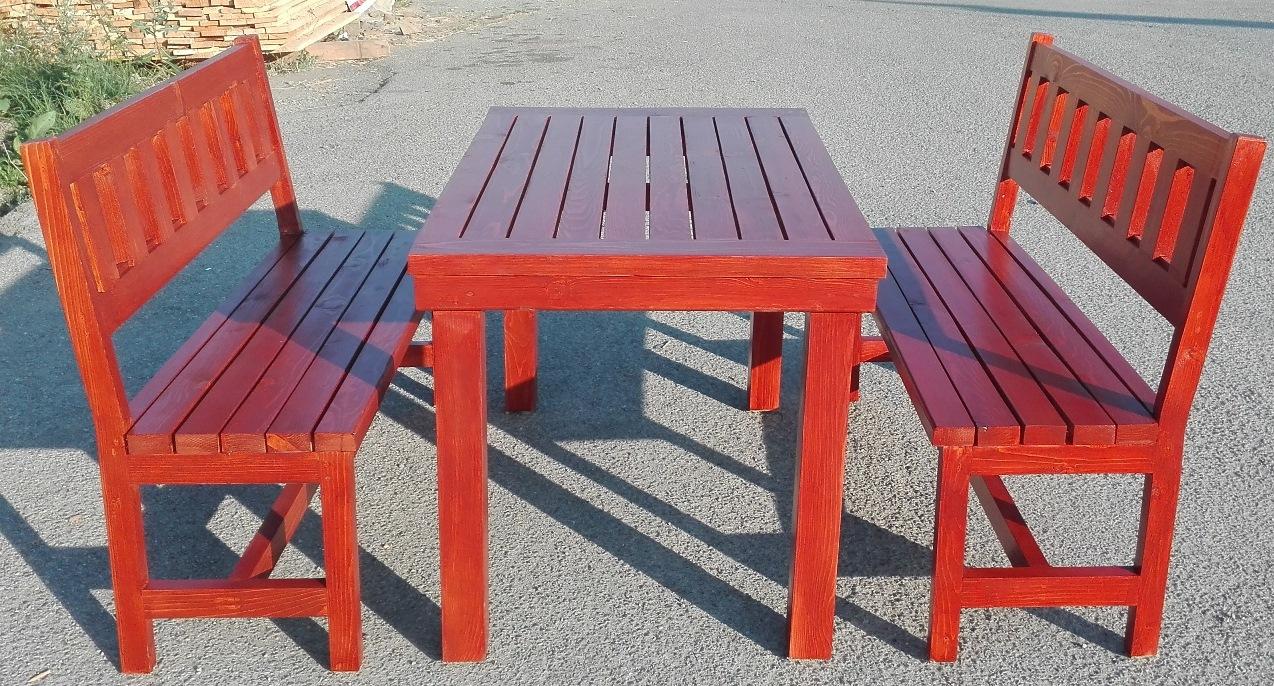 Градински сет, маса 120х75см. с две пейки, цвят горящ махагон