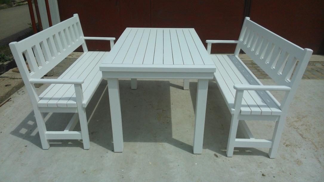 Градински пейки с маса (с подлакътници), цвят бяло