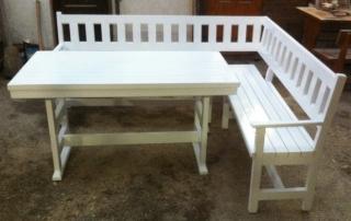 Ъглова пейка с маса, цвят бяло